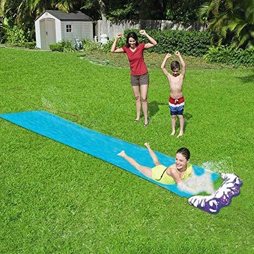 Slide césped Diapositivas de agua del arco iris Silp con pulverización y Crash Pad inflable for los niños del jardín de césped pequeña piscina de ocio al aire libre juegos de mesa Juguetes de agua