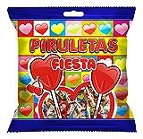 FIESTA Piruletas - Caramelo con palo en forma de corazón - Sabor cereza - 7 unidades