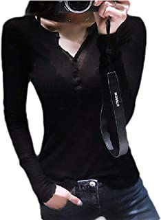 FRPE Women Henley Shirts Slim Fit Casual V-Neck Solid Color T Shirts