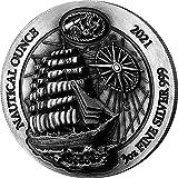 Power Coin Sedov Nautical Ounce Antique 3 Oz Moneda Plata 1000 Francos Rwanda 2021