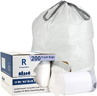 Plasticplace Custom Fit Trash Bags │ Simplehuman Code R Compatible (200 Count) │ White Drawstring Garbage Liners 2.6 Gallon / 10 Liter │ 16.5