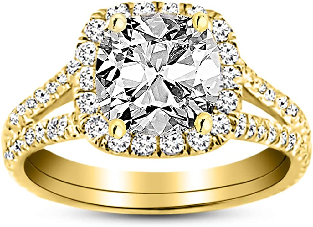 1.5 Ctw 14K White Gold Single 訳あり 低価格化 Classic Cushion GIA Halo Certified