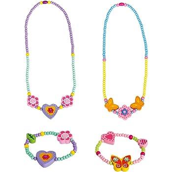 Bino & Mertens 4 teiliges Schmuckset SchmetterlingHerz Fuer Mädchen 2X Armbänder, 2X Kette aus Holz