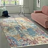 Paco Home Alfombra Diseño Vintage Abstracto Azul Crema Rosa Multicolor, tamaño:133x190 cm