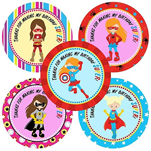 Superhero Girl Thank You Sticker Labels - Teen Girl Birthday Party Favor Labels - Set of 30
