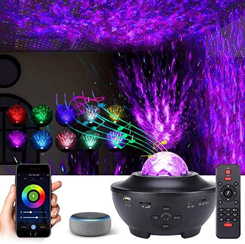 LTXDJ Proyector de Luz Estelar, luces nocturnas Ocean Wave reproductor de música que cambia de color con Bluetooth, temporizador y control remoto, funciona con Google Alexa Assistan