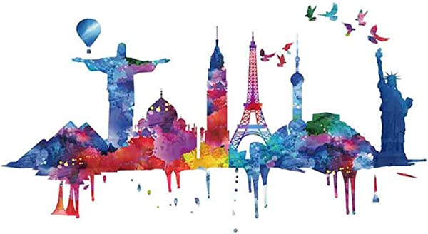 Wall Decals World Famous Attractions Wall Sticker Murals DIY Removable Vinyl Wall Art Stickers For Nursery TV Background Kids Gilr S Bedroom Decor Gift 51 X27 5 Multicolor