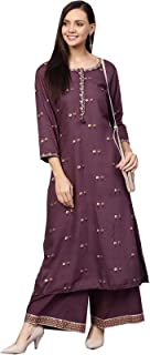 Ishin Women's Cotton Magenta Embroidered A-Line Kurta Palazzo Set