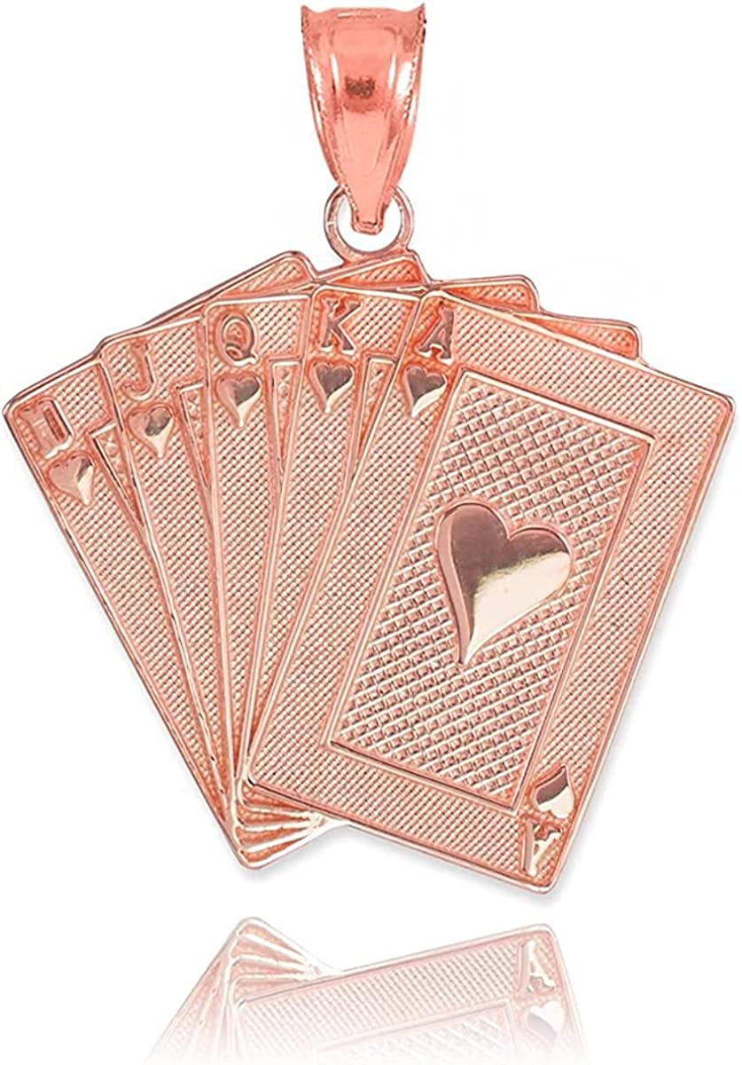 10K Yellow, White, or Rose Gold Heart Suit Royal Flush Poker Hand Cards Pendant Charm