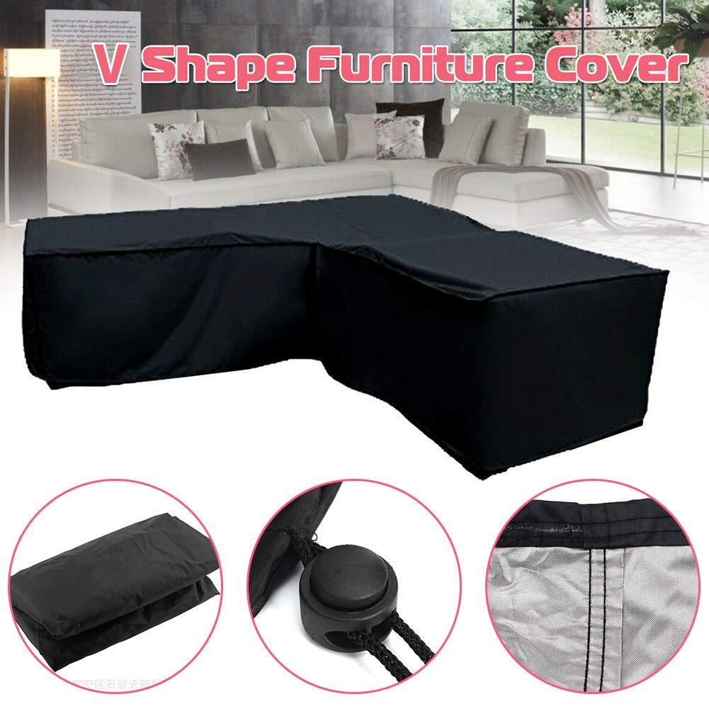 Funda para muebles en forma de V, para muebles de jardín, funda para sofá esquinero, impermeable, antipolvo, anti UV, protección contra todo tipo de condiciones meteorológicas: Amazon.es: Hogar