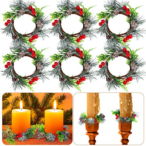 6 Pieces Christmas Candle Ring Red Artificial Berry Candle Rings with Pine Cones Small Wreaths for Home, Wedding, Living Room and Christmas Holiday Table Decoration