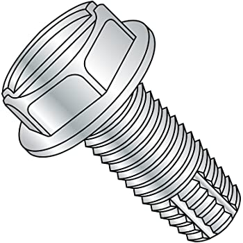 Pack of 10 1//4-20 Thread Size 1 Length 1 Length Type F Pack of 10 1//4-20 Thread Size Plain Finish Slotted Drive 18-8 Stainless Steel Thread Cutting Screw Hex Washer Head Small Parts 1416FSW188