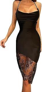 ZGMYC Women's Sexy Cowl Neck Satin Bodycon Midi Dress Elegant Lace Sleeveless Party Dress for Cocktail Clubwear