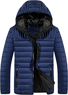 Men's Winter Lightweight Packable Puffer Down Jacket Water-Resistant Coat with Hooded (Not for Big Man)