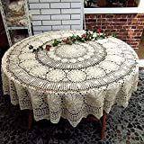 USTIDE 70 inch Round Cotton Crochet Lace Tablecloth Beige Vintage Woven Dining Kitchen Table Cover