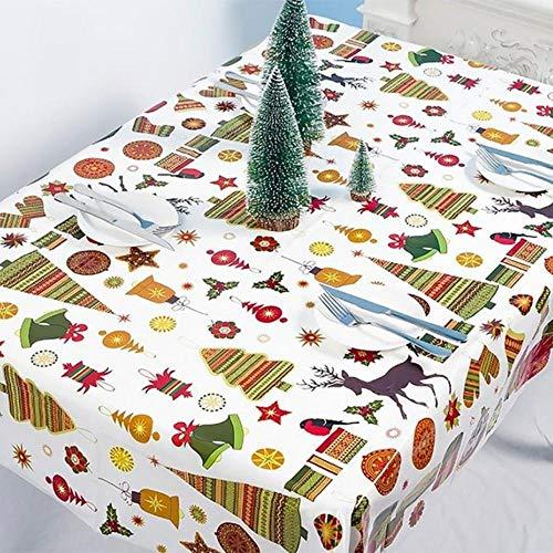 Viner 1 stks kerst tafelkleed etentje nieuwjaar gedrukt rechthoek tafelkleed kerst tafel cover decoraties, bordeaux