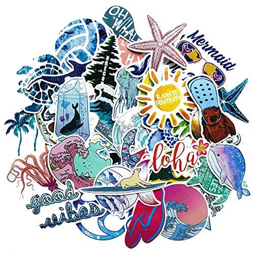 Calcomanías KATTERS para playa, verano, diseño de tortuga marina, para ordenador portátil, nevera, teléfono, monopatín, maleta, chica, 50 unidades