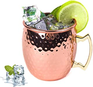 Moscow Mule Copper Mug for Cocktail Coffee Milkshake Ice Cream in Bars, Restaurants and Home (Hammered)