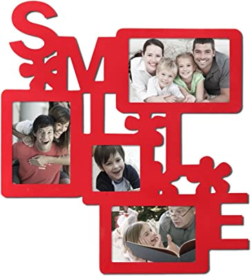Homebeez HBPF0522 Smile 4 Opening Photo Collage, Red