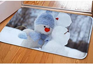 Dellukee Christmas Doormats Plush Doll and Snowman Pattern Indoor Outdoor Funny Non Slip Durable Washable Home Decorative Door Mats Bath Rugs for Entrance Bedroom Bathroom Kitchen, 23 x 16 Inches