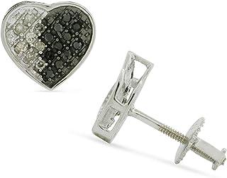 مجوهرات للنساء 925 فضة عقودية القلب أقراط للنساء 0.15 قيراط ألماس مستدير أبيض وأسود (I2-I3 وضوح) مجموعة Micro Pave