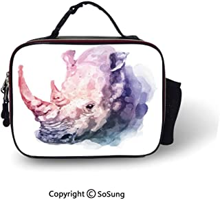 Watercolor Decor Leakproof Reusable Insulated Cooler Lunch Bag Gradient Paintbrush Style Tropical Animal Rhino Safari Artful Paint Print Picnic Hiking Beach Lunch bag,10.6x8.3x3.5 inch,Lilac Pink