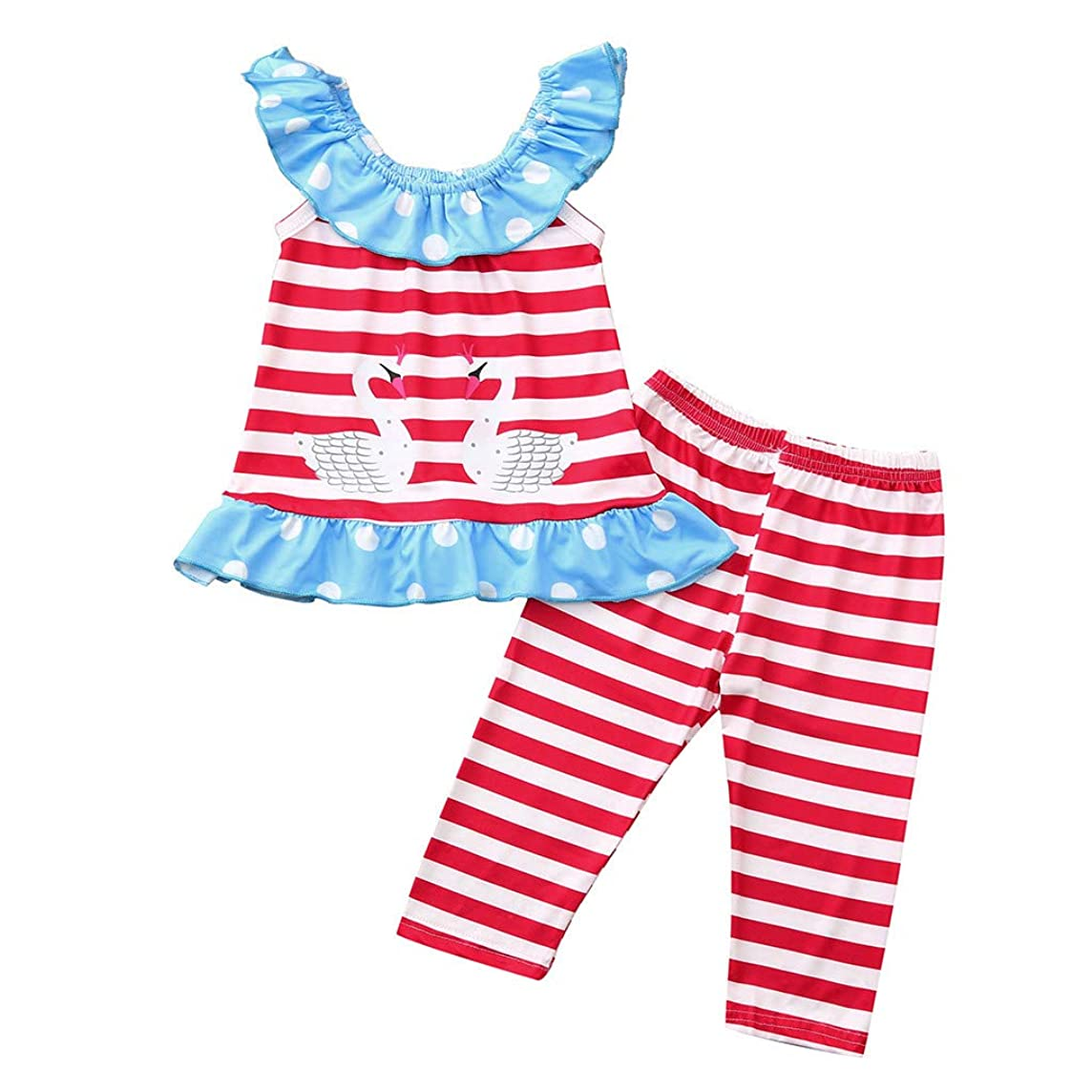 Luonita Toddler Girls Outfits Suits Stripe Ruffles Goose Print Tops Tee T-Shirt+Stripe Printing Pants Clothes Sets for 6M-4T(Toddler/Little Kids/Big Kids)