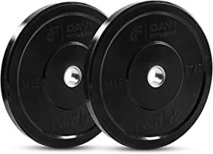 "Olympic Bumper Plate 2"" - 5 Weights Available (10 to 45lbs) - by D1F- Weighted Plates for Barbells, Bars - Shock-Absorbin..."