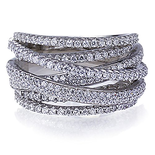Intertwined Design CZ Right Hand Ring by Lavish Store