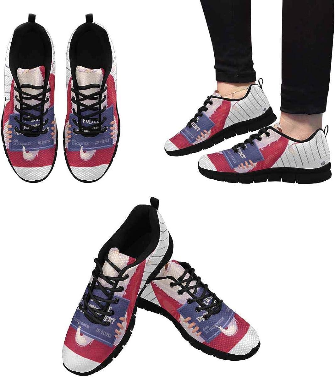InterestPrint Bad Santa Women's Running Shoes Mesh Breathable Sports Casual Shoes
