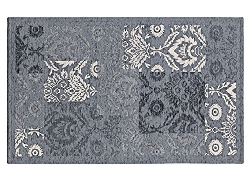 CapitanCasa Velour-Teppich mit rutschfester Rückseite, Modell Ghibli 140x195 cm grau