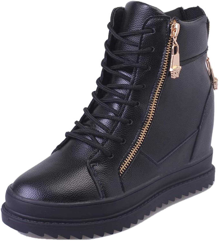 Hidden Heel Ankle Boots for Women Cross Tied Side Zip Sneaker Platform Height Increasing Wedge shoes