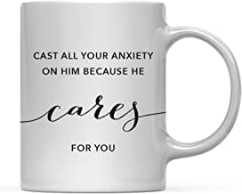 Andaz Press Modern Christian Bible Verses 11oz. Coffee Mug Gift, 1 Peter 5:7: Cast All Your Anxiety on him Because he Cares for You, 1-Pack