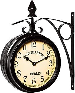 Deuba Reloj de Pared Estación de Tren Negro Estilo Vintage Doble Esfera - Hierro Forjado para Interior y terraza