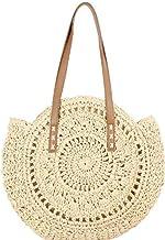 JKGHK Shoulder Bag Summer Round Straw Bags for Women Rattan Bag Handmade Woven Beach Crossbody Bag Female Handbag Totes,A