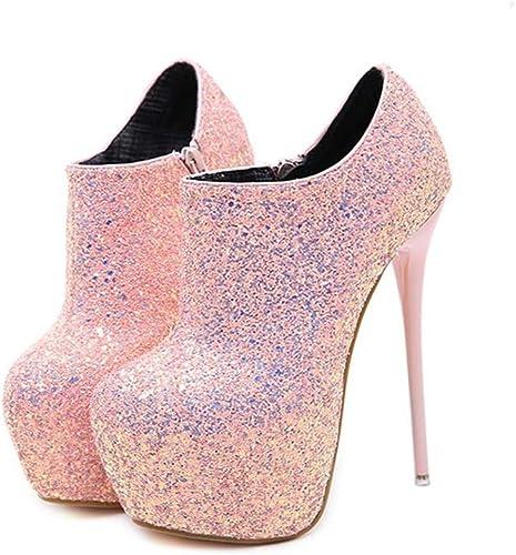 Yanyan Chaussures à Talons compensées pour Les Les Les dames, Chaussures de soirée à Sequins Chaussures Sexy de Club de Nuit Bottines Martin Bottines Bottes de Mariage