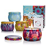 Yinuo Mirror Scented Candles Gift Set, Vegan Candles with Travel Tin, Natural Soy Wax, Lavender, Lemon, Mediterranean Fig, Fresh Spring, for Aromatherapy, Anniversary, Bath, Yoga, 4 Pack