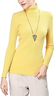 Easier Women's Cashmere/Lyocell Stretchy Turtleneck Long Sleeve Knit Pullover Sweater,Yellow
