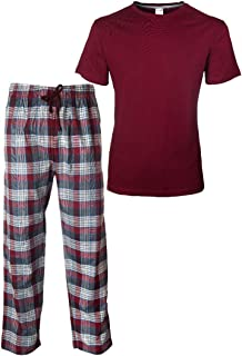 ThreadMills Mens Pyjamas Set, Checked Pyjamas for Men, Cotton Short Sleeves Round Neck T-Shirts Woven Mens Pyjamas