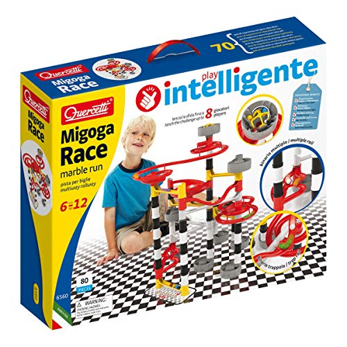 Quercetti - MIGOGA Race - 80-Piece Marble Run Toy, Launch up to 8 Balls at The Same Time, for Kids Ages 6 Years and Up, Multicolour