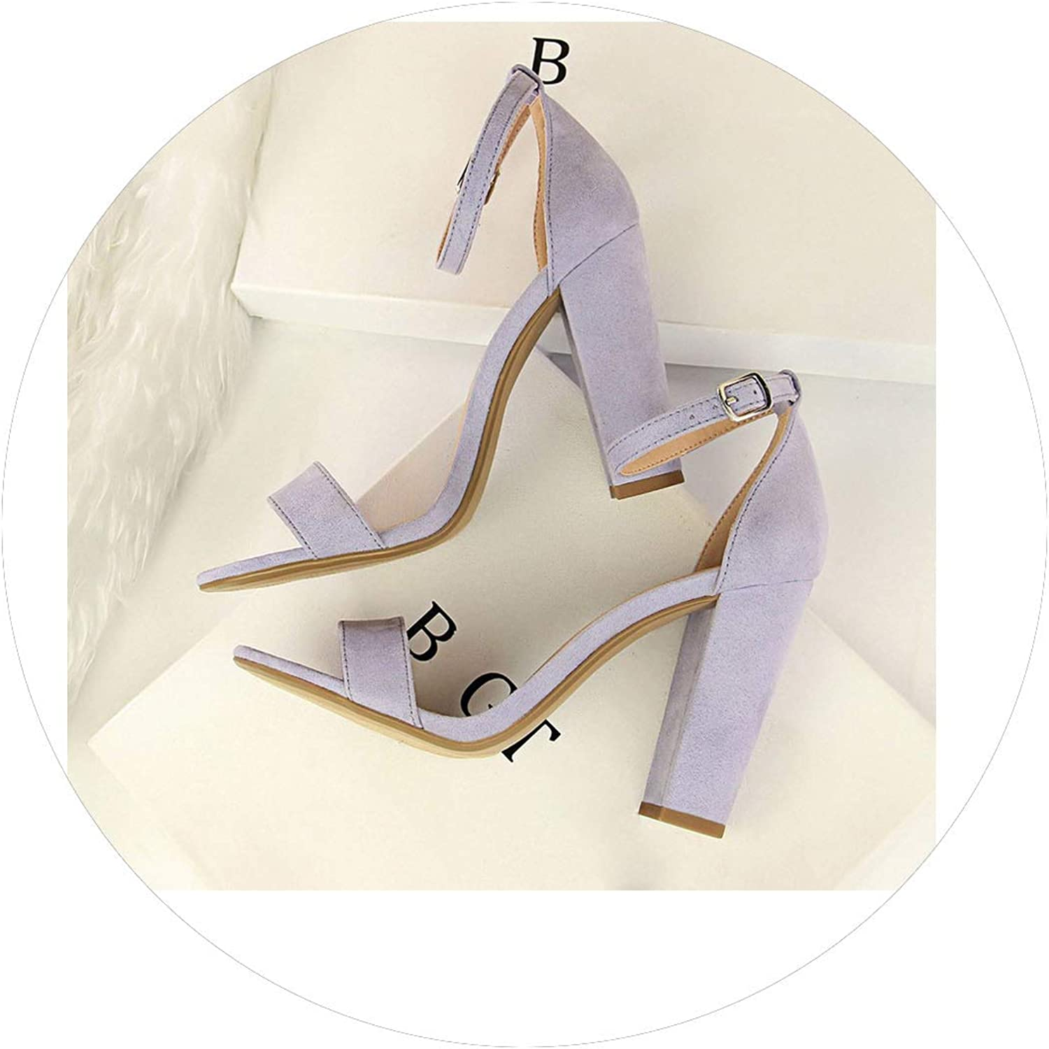 Summer Fashion Classic Woman 8cm High Heels Sandals Pumps Lady Strappy Chunky Scarpins shoes