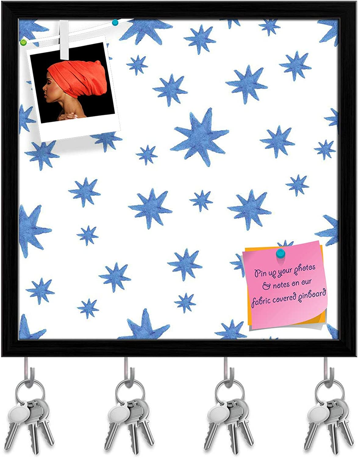 Artzfolio Watercolor Stars Key Holder Hooks   Notice Pin Board   Black Frame 20 X 20Inch