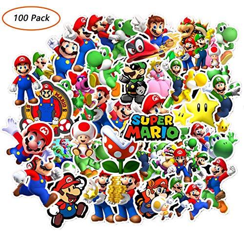 HONGTEYA 100 Pack Super Mario Bros Cartoon Stickers Waterproof Stickers for Waterbottle,Laptop,Phone,Bicycle Motorcycle Car Bumper Luggage Travel Case (A)