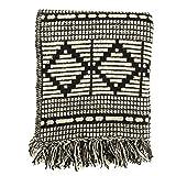 Bloomingville Black & Beige Woven Cotton Blend Blanket with Fringe Throw, Black