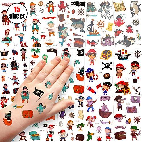Tatuajes Temporales Niños, Sinwind 15 Hojas Tatuajes Temporales Para Niños Niñas, Impermeables Tatuajes De Mejores Regalos De Cumpleaños Para Niñas Y Niños (Pirata)