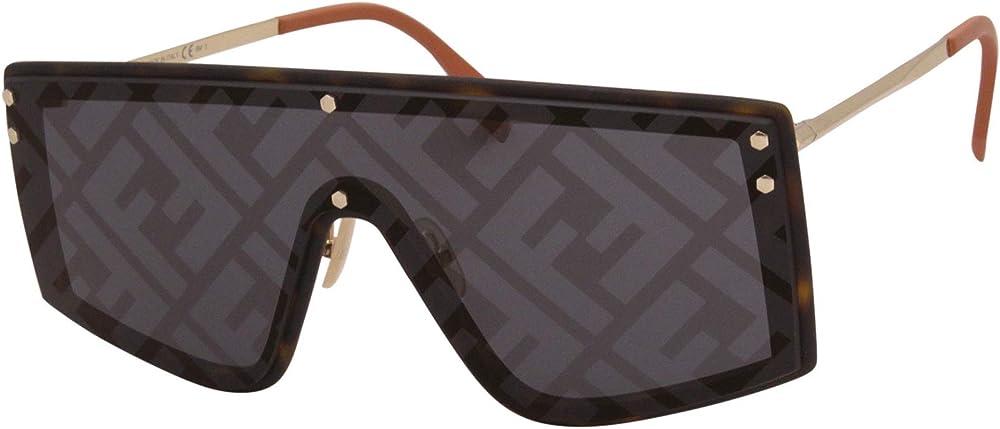 Fendi fabulous ff, occhiali da sole da uomo, forma a mascherina, la lente singola dark havana/grey 203081A