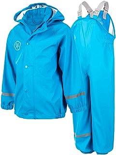 SWISSWELL Jungen Regenanzug Langarm Schneeanzug Outdoor Wasserdichte Winddicht Hooded Regenmantel Suit Kid Windbreaker Rainwear Kinder Kapuzen Jacke /& Hose
