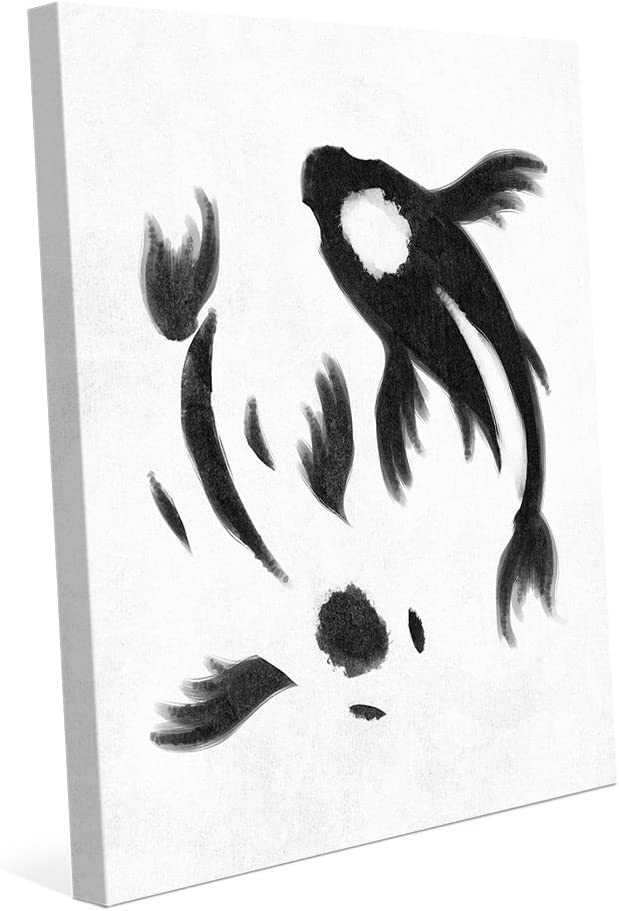 Amazon Com Yin Yang Koi White Delicate Painting Of Goldfish In Black On White Wall Art Print On Canvas Posters Prints