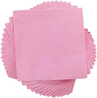 """JAM Paper Small Beverage Napkins - 5"""" x 5"""" - Baby Pink - 50/Pack"""