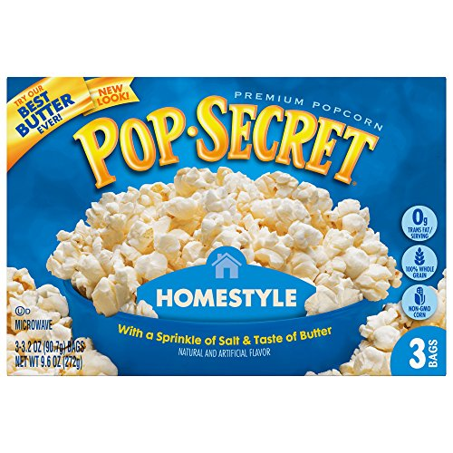 New Pop Secret Popcorn, Homestyle, 3.2 Ounce Microwave Bags, 3 Count Box